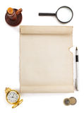 Parchment scroll and supplies on white Stock Photography