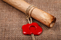 Parchment scroll with wax seal Royalty Free Stock Image