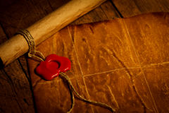 Parchment scroll with wax seal Royalty Free Stock Images