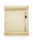 Parchment scroll on white Royalty Free Stock Photo