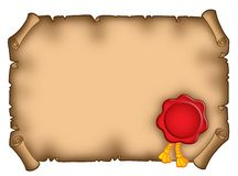 Parchment with seal. Illustration of old horizontal parchment (banner) with red seal royalty free illustration