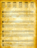 Parchment Tablature Paper. Tablature Guitar Parchment paper vector illustration