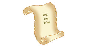 Parchment. To be old, follow the law, white background, illustration Stock Images