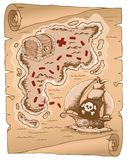Parchment with treasure map 1 Royalty Free Stock Photos