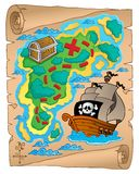 Parchment with treasure map 2. Vector illustration Stock Photography