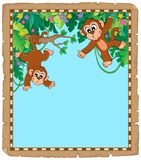 Parchment with two monkeys vector illustration