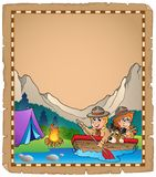 Parchment with two scouts in boat. Eps10 vector illustration Royalty Free Stock Photo