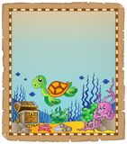 Parchment with underwater theme 4 Stock Image