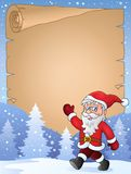 Parchment with walking Santa Claus Stock Images