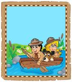 Parchment with water scouts on river. Eps10 vector illustration Royalty Free Stock Image
