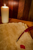 Parchment with wax seal and candle Stock Photography