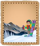Parchment with winter sport theme 1 Stock Image