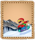 Parchment with winter sport theme 2 Royalty Free Stock Photos