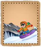 Parchment with winter sport theme 3 Royalty Free Stock Photography