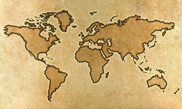 Parchment world map Stock Photos