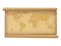 Parchment with worldmap. Royalty Free Stock Photography