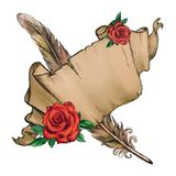 Parchment, feather, red rose, paper illustration stock photo