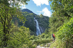The Parcines Waterfall in South Tyrol, Italy Royalty Free Stock Photos