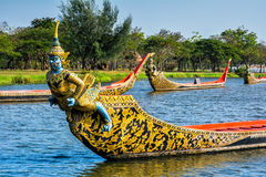 Parco antico del Siam, processione reale del corso d'acqua, legno decorato Immagine Stock Libera da Diritti