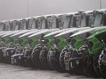 Parco automobilistico di Deutz-Fahrenheit dei trattori nell'inverno Fotografia Stock