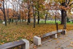 Parco davanti al palazzo nazionale di cultura a Sofia, Bulgaria Fotografie Stock
