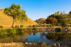 Parco dei tumuli in Gyeongju Fotografia Stock