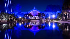 Parco della balboa, San Diego, California, U.S.A., alla notte, esposizione lunga Fotografie Stock