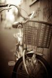Parco della bicicletta alla via in mono Fotografie Stock