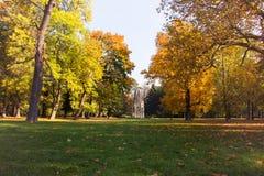 Parco della città del paesaggio di autunno, frammento architettonico gotico della torre storica nell'erba con le foglie di autunn immagine stock