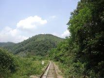 Parco della ferrovia con il cielo Fotografia Stock