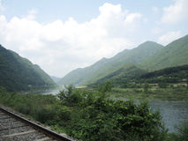 Parco della ferrovia con la vista naturale Fotografia Stock