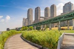 Parco della riva del fiume a New York Fotografia Stock