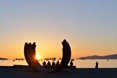 Parco della spiaggia di tramonto da Vancouver del centro Fotografia Stock