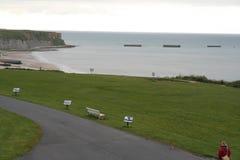 Parco della spiaggia della Normandia della seconda guerra mondiale fotografia stock libera da diritti