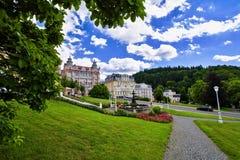 Parco della stazione termale - quadrato di Goethe - Marianske Lazne Marienbad - repubblica Ceca fotografie stock