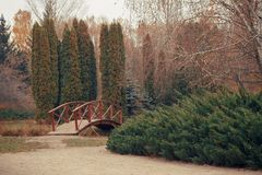 Parco di autunno con il ponte Fotografia Stock