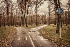Parco di autunno, pista ciclabile e sentiero per pedoni Fotografie Stock Libere da Diritti