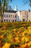 Parco di Cremlino di Veliky Novgorod con la torre di orologio della st Sophia Cathedral e foglie di autunno cadute in Veliky Novg Fotografia Stock