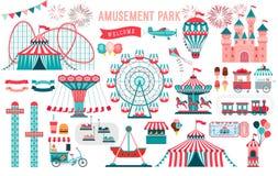 Parco di divertimenti, circo ed insieme di tema della fiera di divertimento, con le montagne russe, caroselli, castello, aerostat illustrazione vettoriale