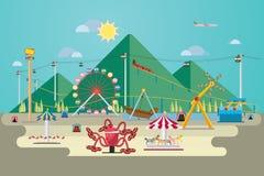Parco di divertimenti con la montagna Immagini Stock