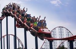 Parco di divertimenti delle montagne russe Immagini Stock Libere da Diritti
