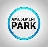 Parco di divertimenti intorno al pulsante blu illustrazione di stock