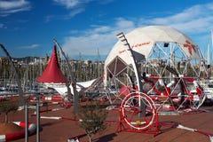 Parco di divertimenti nel porto di Barcellona Fotografia Stock Libera da Diritti