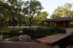 Parco di Pechino Haidian al crepuscolo Fotografie Stock Libere da Diritti