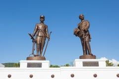 Parco di Ratchapak e le statue di sette ex re tailandesi immagine stock