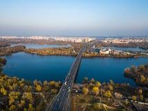 Parco di ricreazione nel distretto di Obolon a Kiev fotografie stock libere da diritti