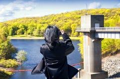 Parco di stato della diga del ruscello del luppolo in Naugatuck fotografia stock