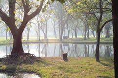 Parco di Wachirabenchatat a Bangkok Tailandia fotografia stock