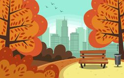 Parco disegnato a mano piano della città di autunno dell'estratto di vettore royalty illustrazione gratis
