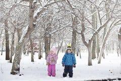 Parco e banchi innevati di inverno Parco e pilastro per alimentarsi Immagine Stock Libera da Diritti